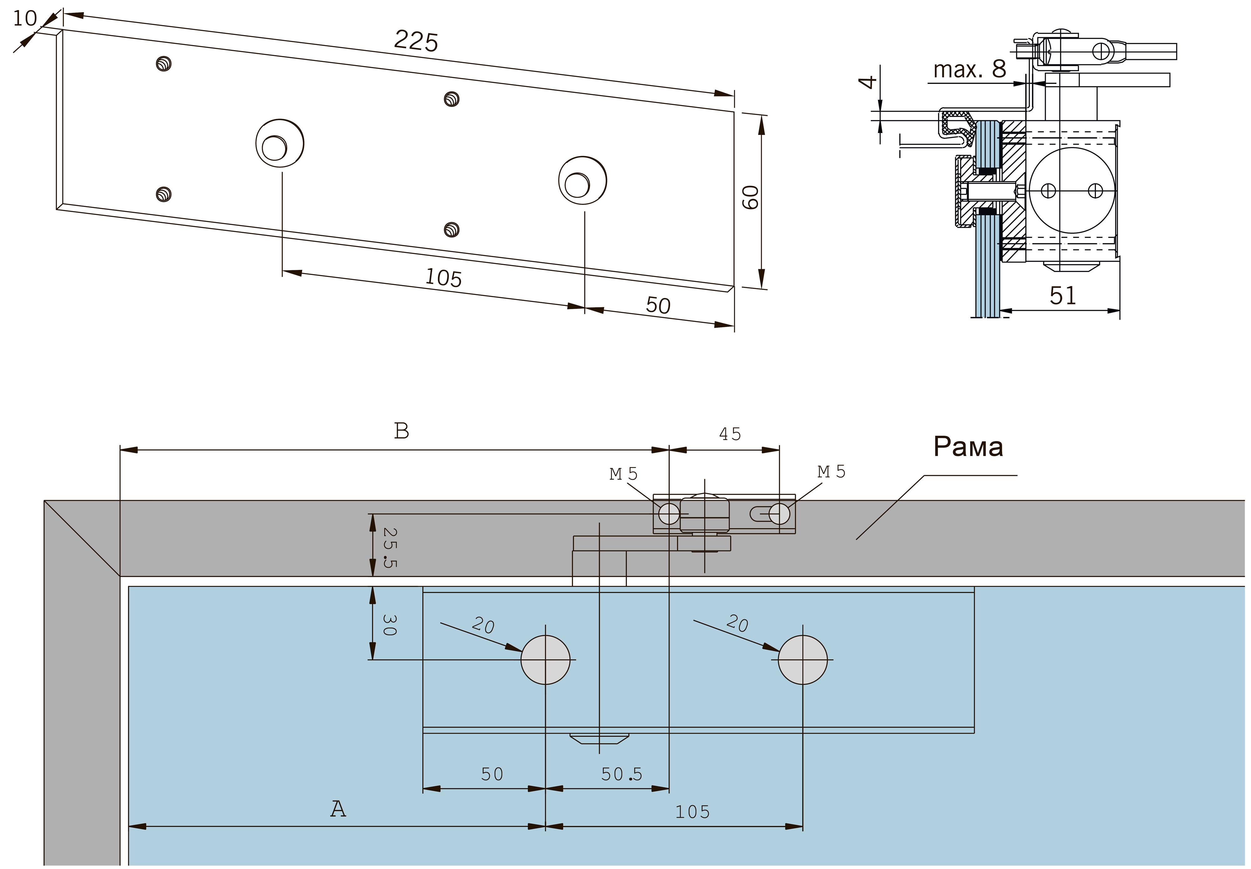 Размеры и способ крепления монтажной пластины для дверного доводчика TS 73 V на стекло